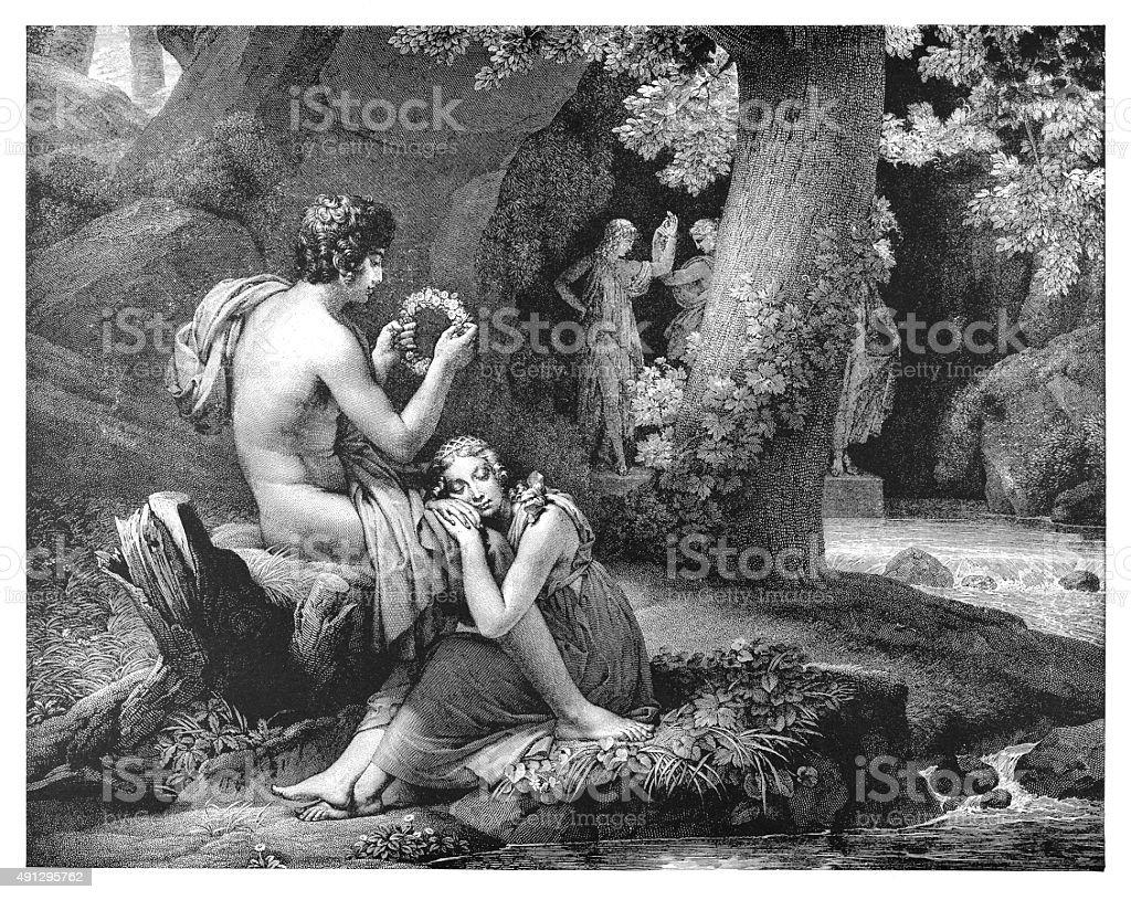 Daphnis and Chloe vector art illustration