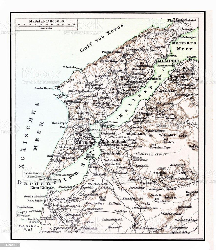 Dardanelles map vector art illustration