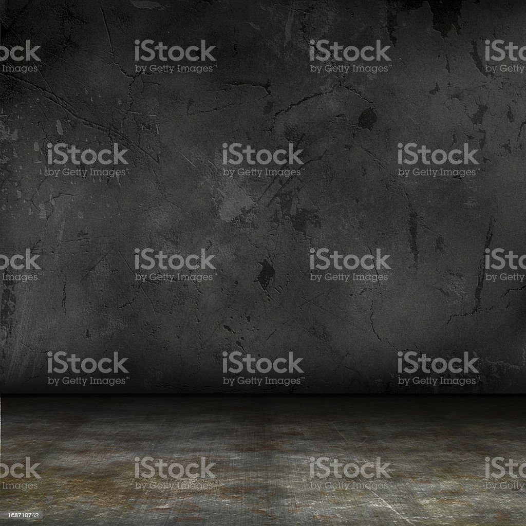 Dark and grungy interior of a creepy place vector art illustration