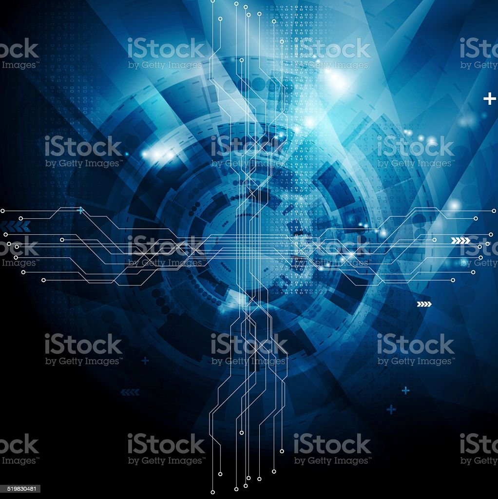 Dark blue tech abstract background vector art illustration
