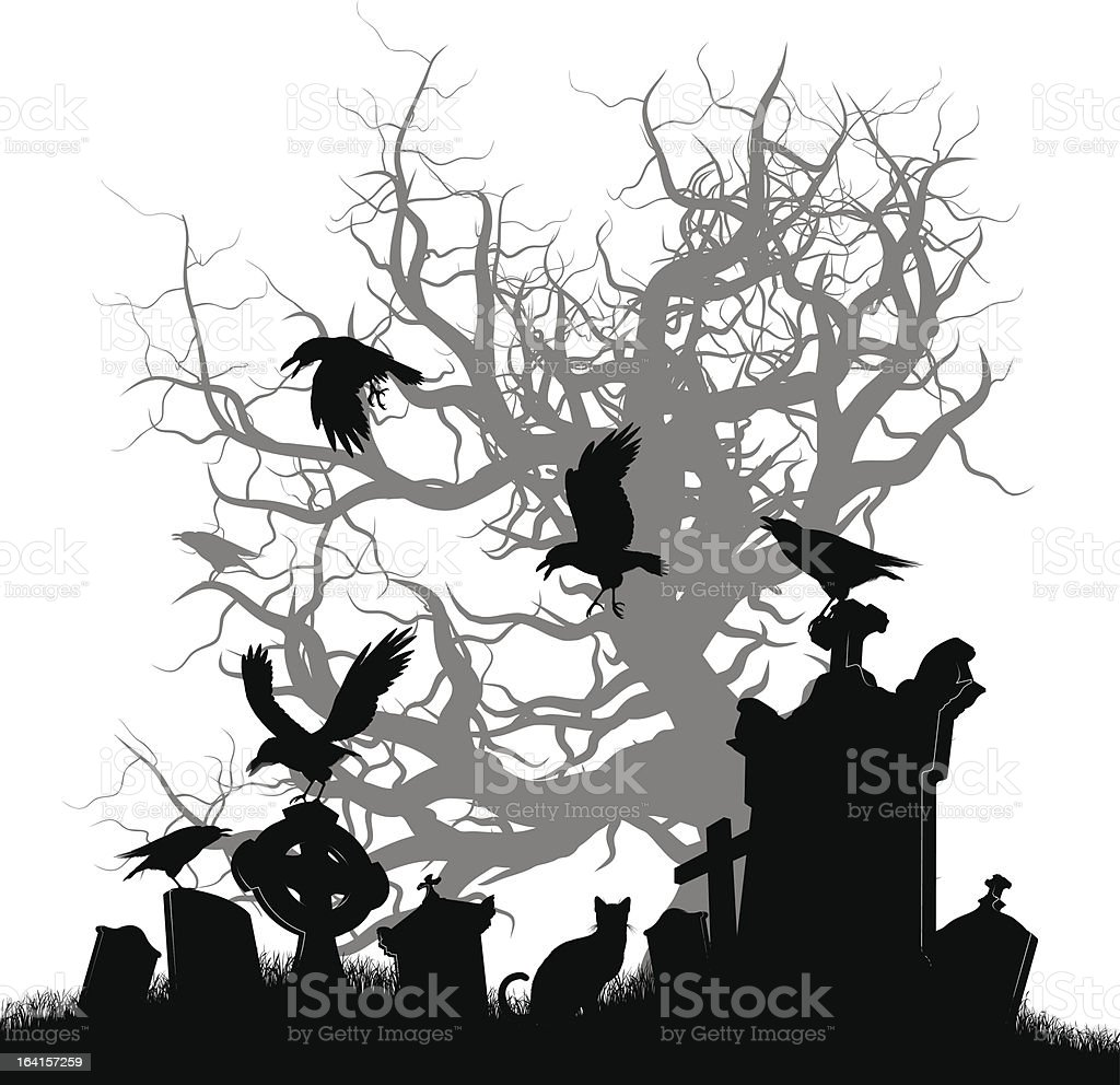 Dark Cemetery vector art illustration