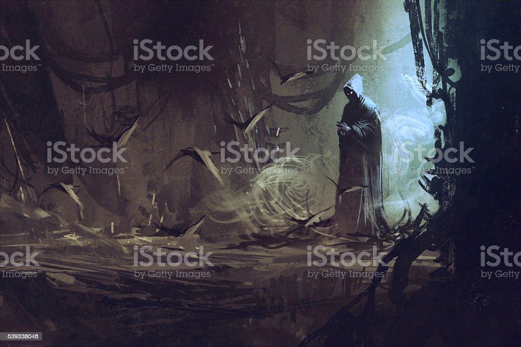 dark cloak in mysterious forest,wizard,sorcerer vector art illustration