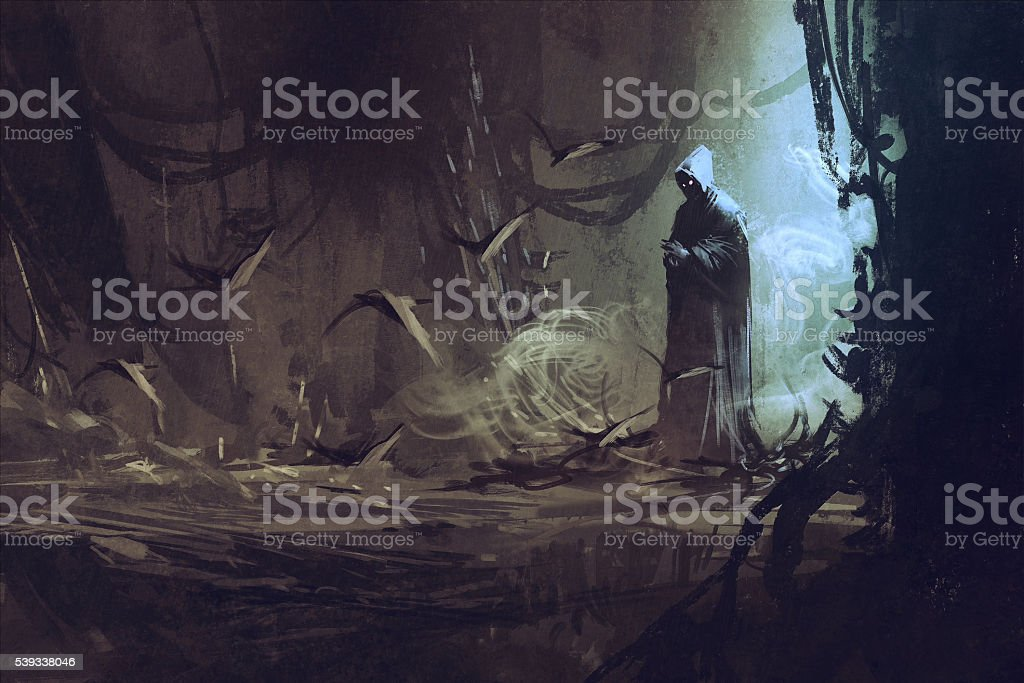 dark cloak in mysterious forest,wizard,sorcerer vector art illustration