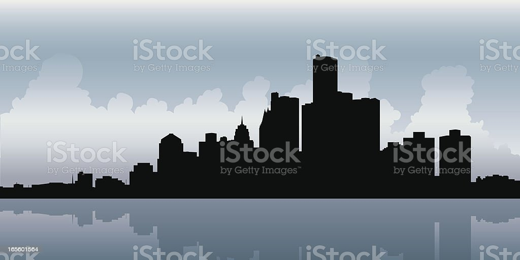 Dark Detroit vector art illustration