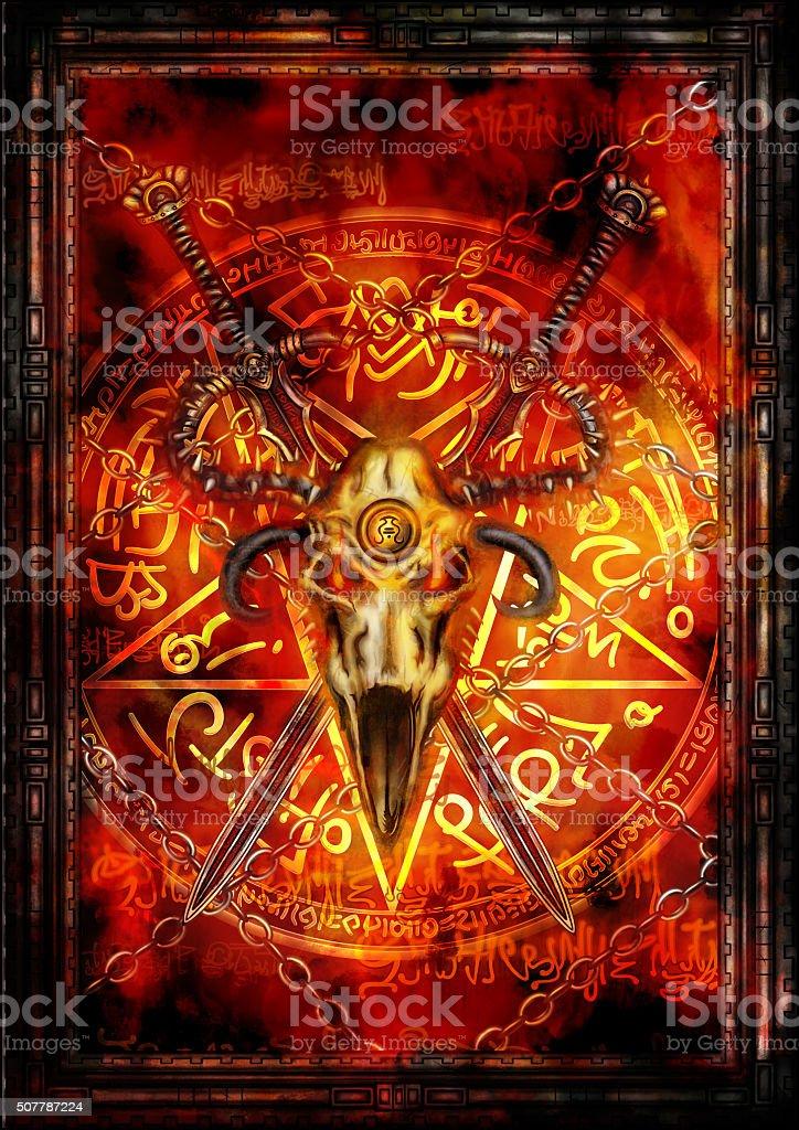 Dark fantasy cover or a card vector art illustration