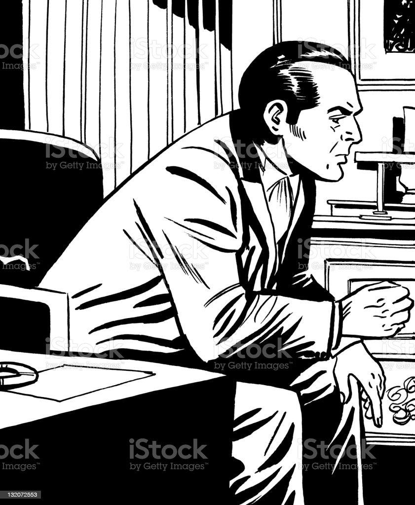 Dark Haired Man Sitting in Chair vector art illustration