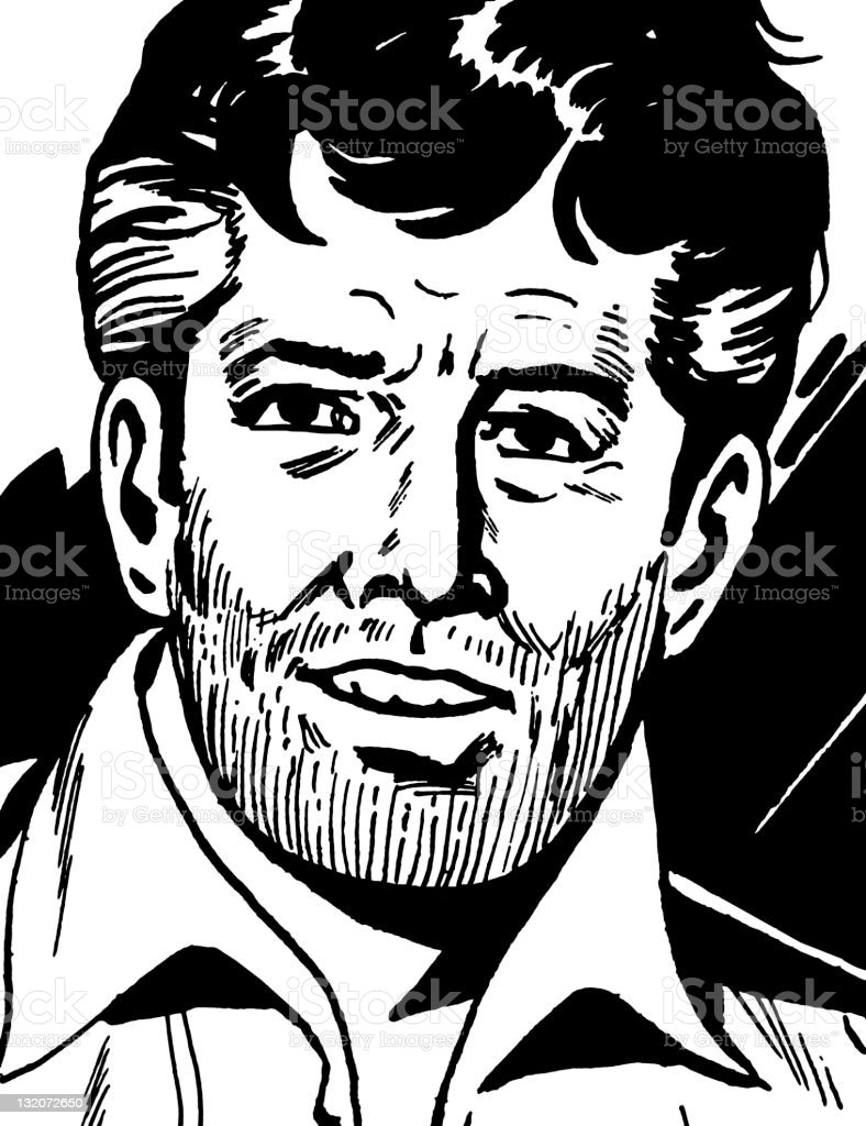 Dark Haired Man With Beard Stubble royalty-free stock vector art