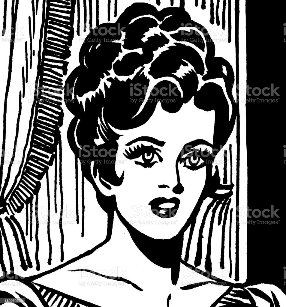 Dark Haired Woman With Her Hair up royalty-free stock vector art