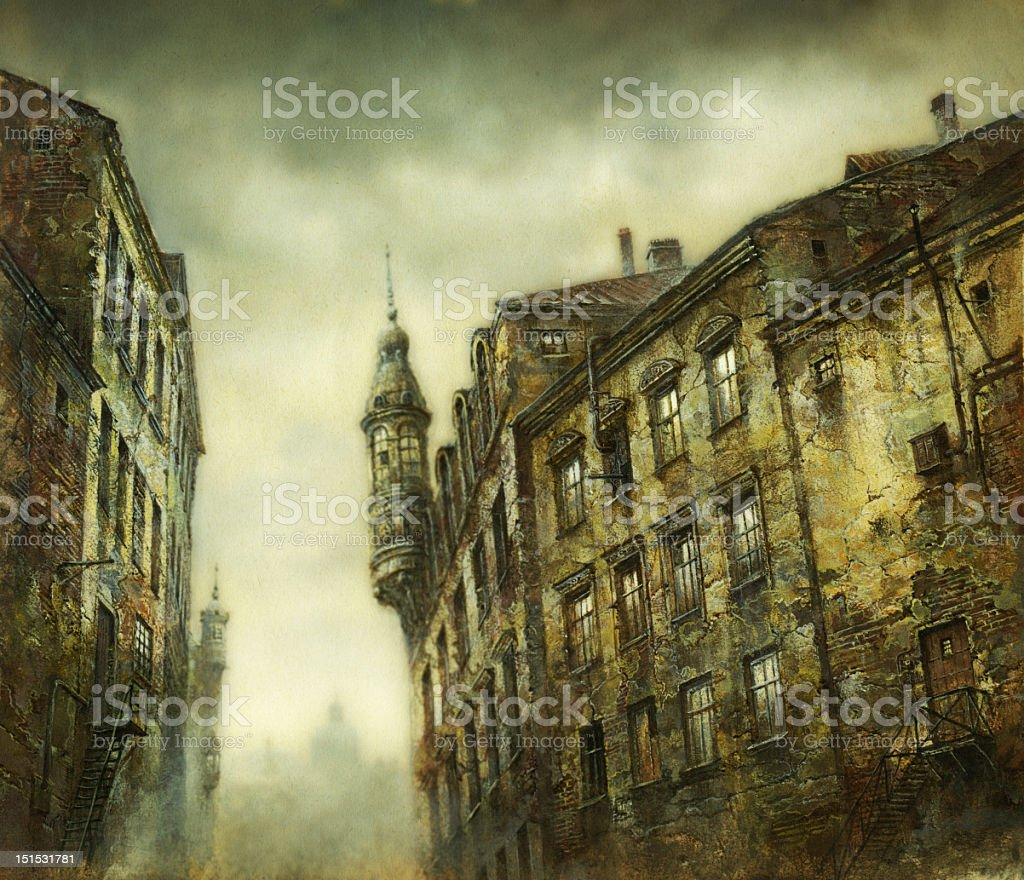 Dark old row homes under a cloudy sky royalty-free stock vector art