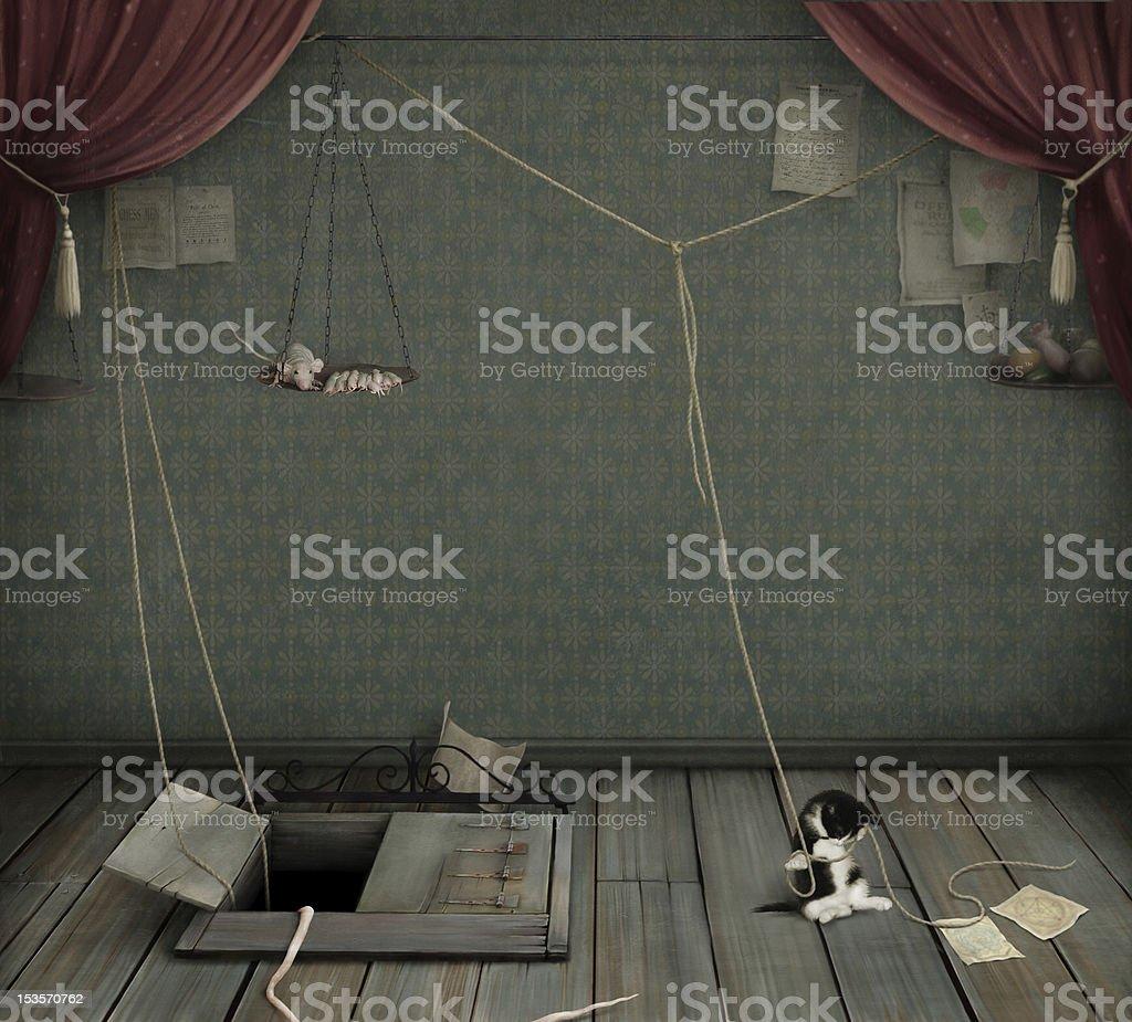 Dark room with  cellar,   kitten and  rat. royalty-free stock vector art