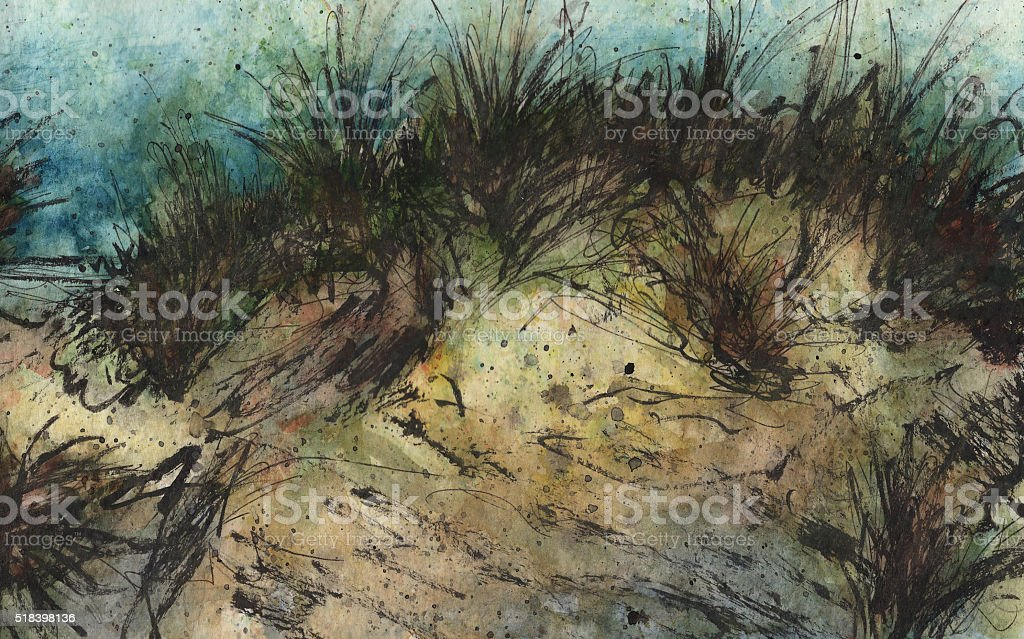 Dark sand dune vector art illustration