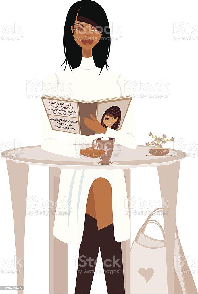 Dark-skinned woman reading royalty-free stock vector art