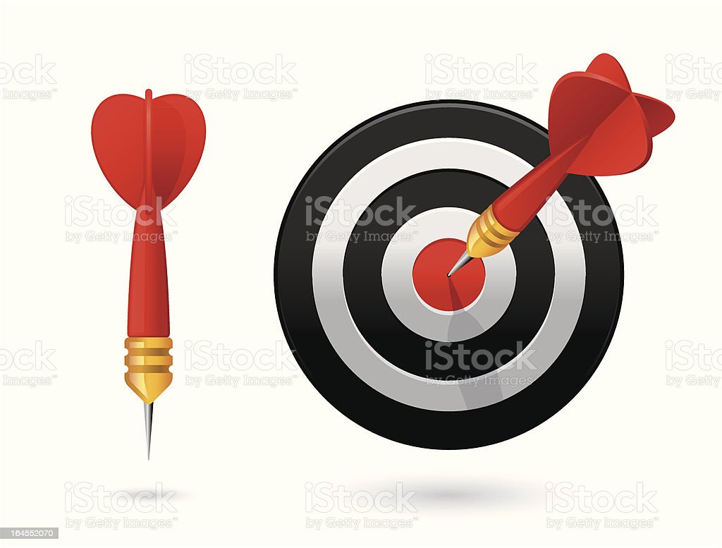Dart in bull's-eye vector art illustration