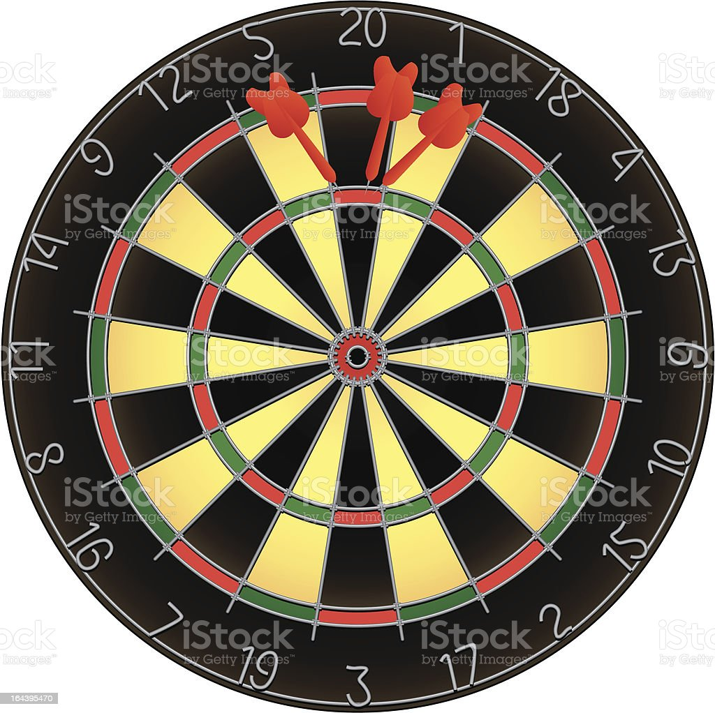 Dartboard and darts vector art illustration