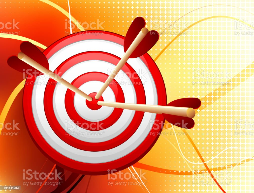 Dartboard on Abstract Wave Background royalty-free stock vector art