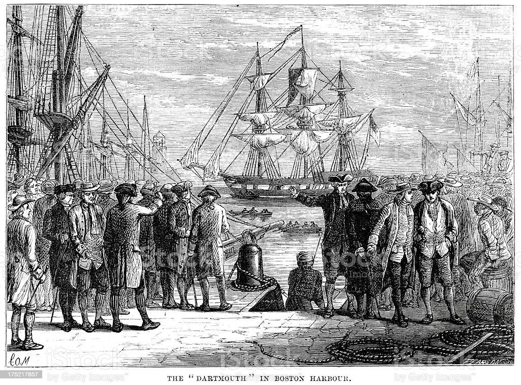 Darthmouth in Boston Harbour vector art illustration