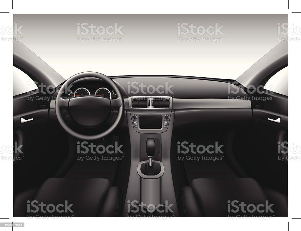 Dashboard - car interior vector art illustration