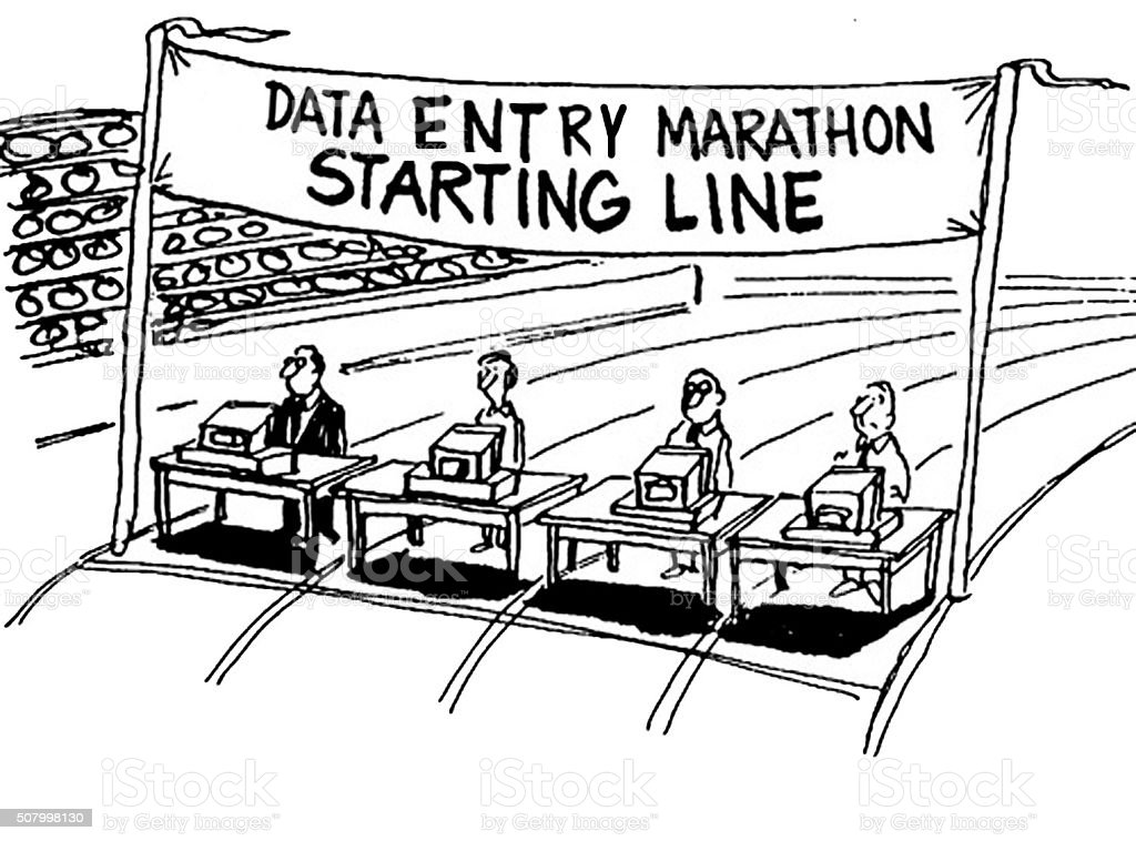 Data Entry Marathon vector art illustration