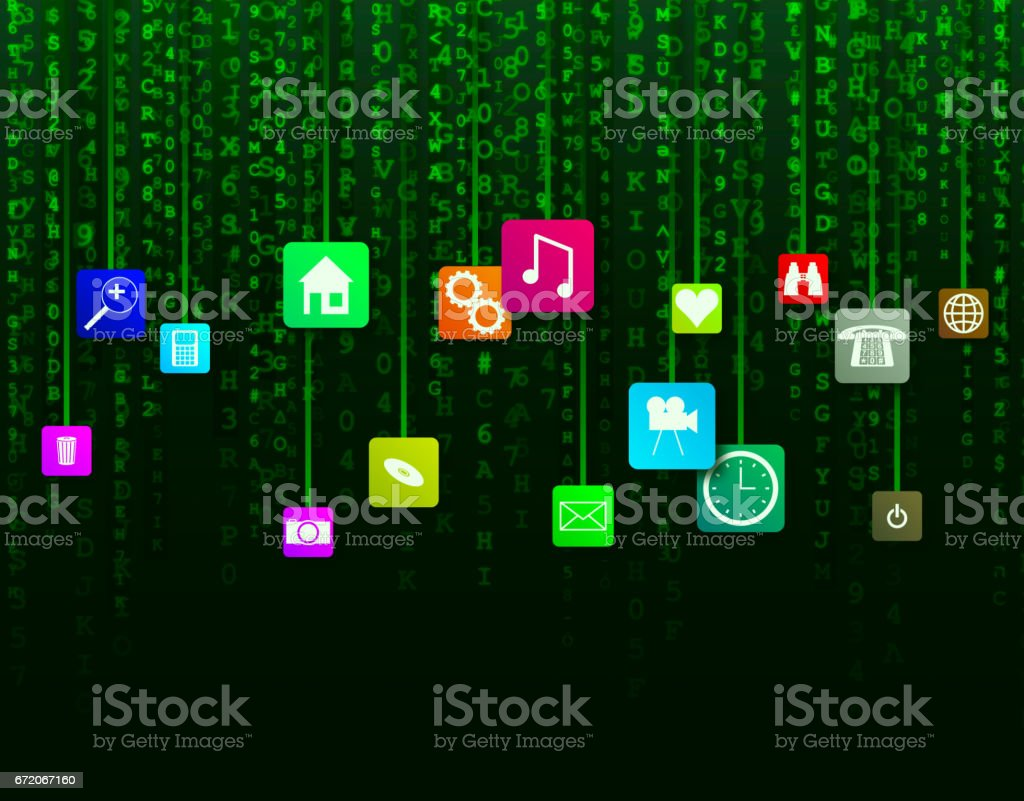 Data Icons Background vector art illustration