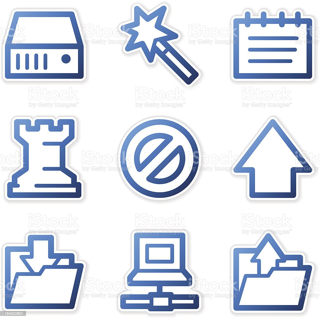 Data icons, blue contour series royalty-free stock vector art