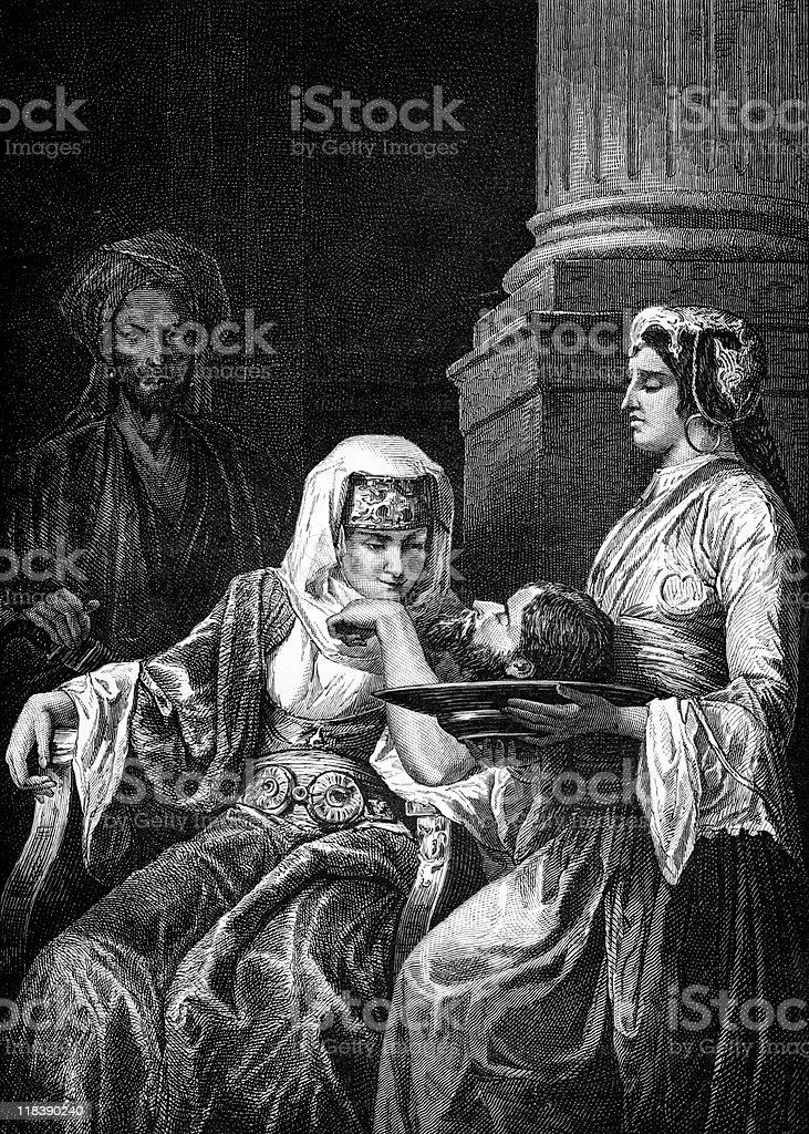 Daughter of Herodias Receives John the Baptist's Head vector art illustration