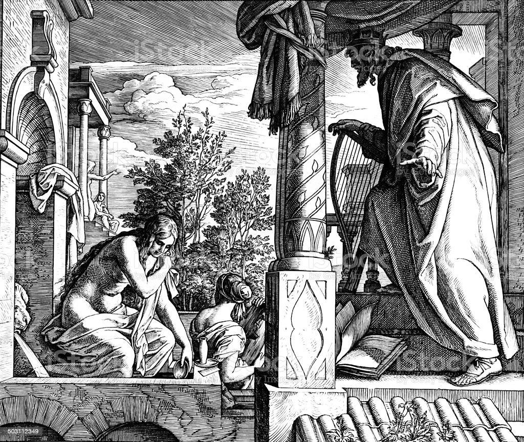 David and Bathsheba royalty-free stock vector art