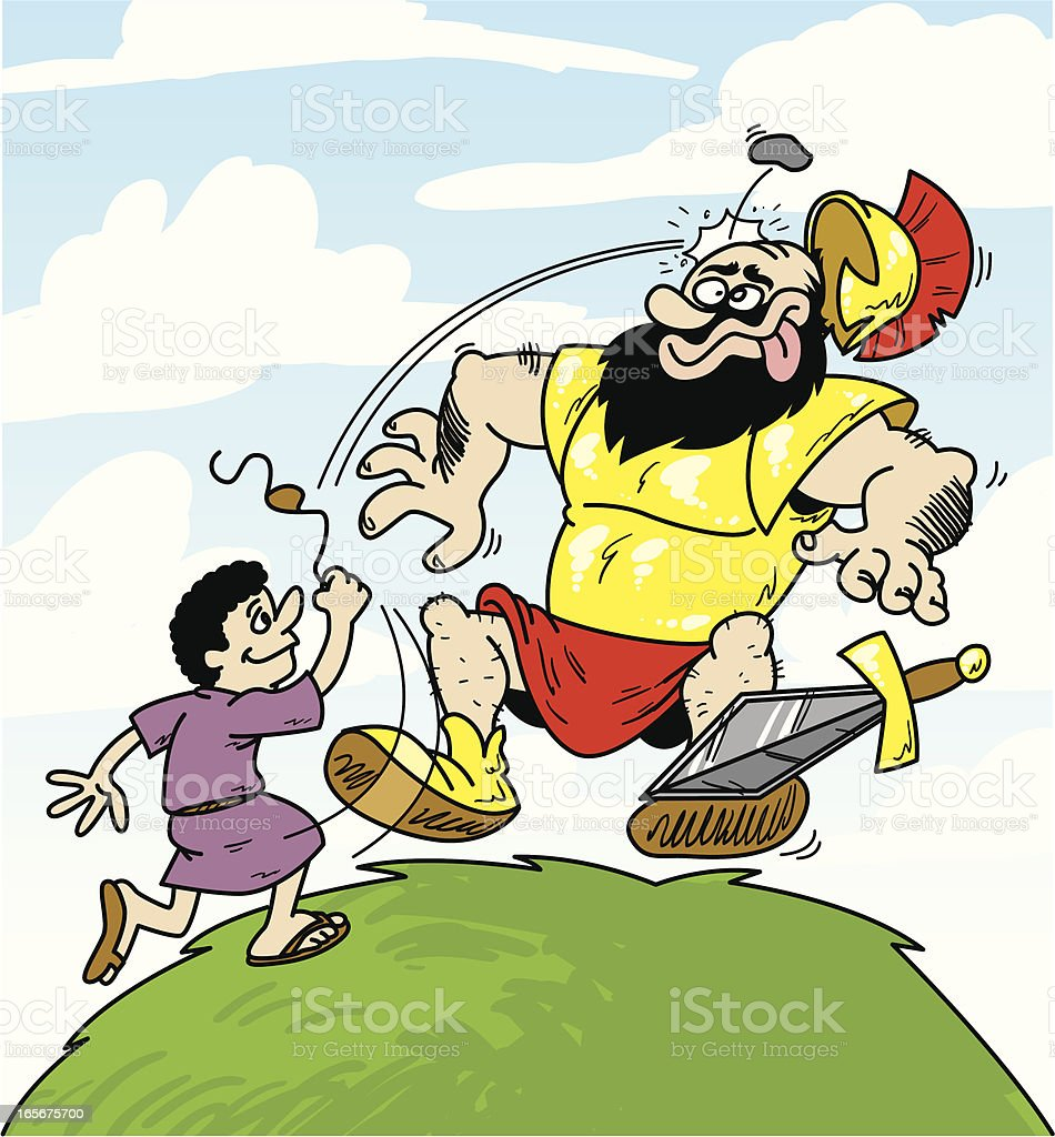 david and goliath royalty-free stock vector art