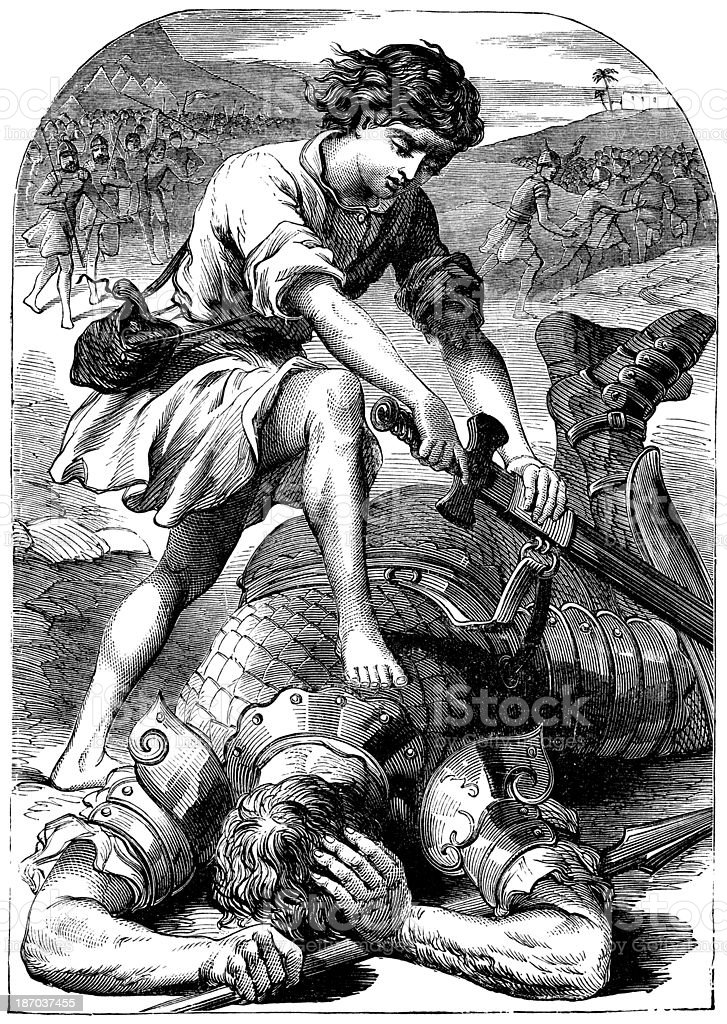 David And Goliath royalty-free stock vector art
