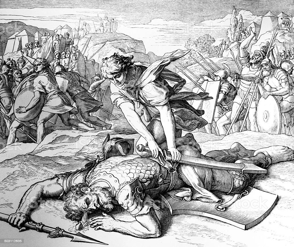 David and Goliath vector art illustration