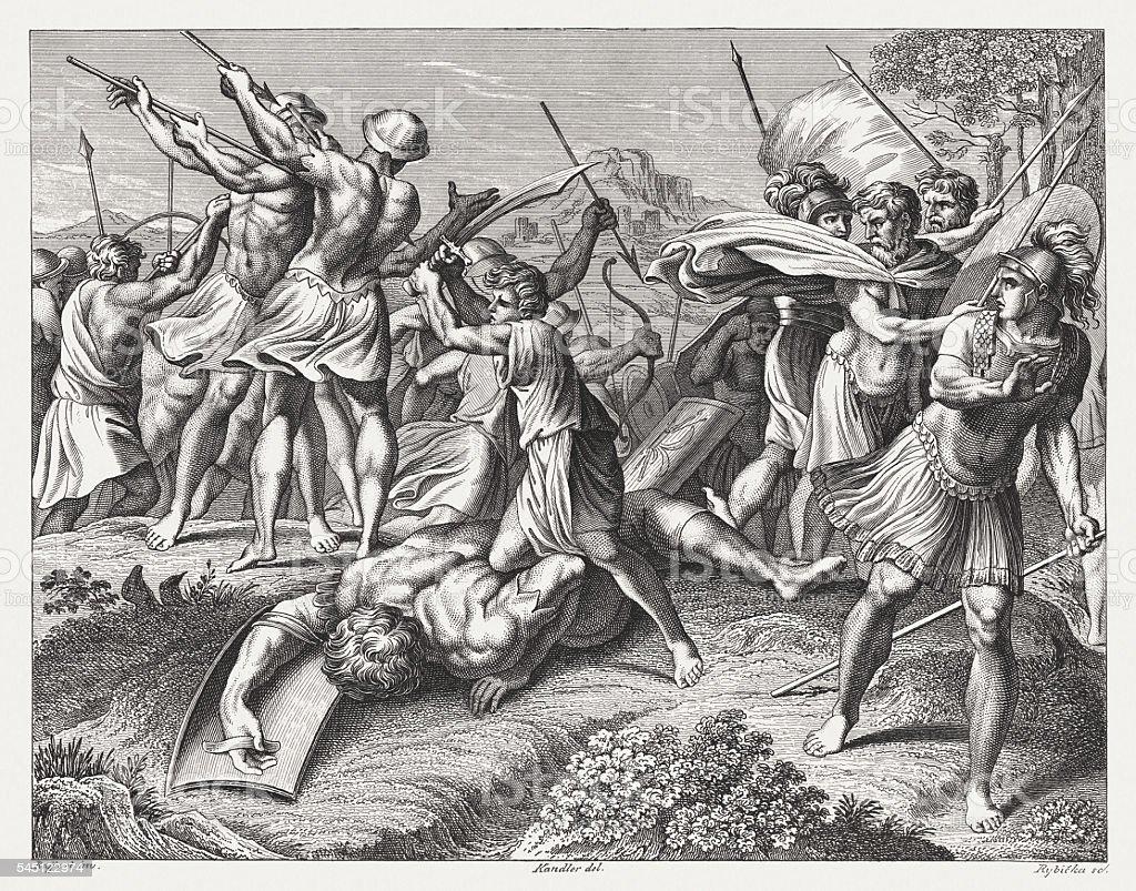David and Goliath (1 Samuel 17), steel engraving, published 1841 vector art illustration