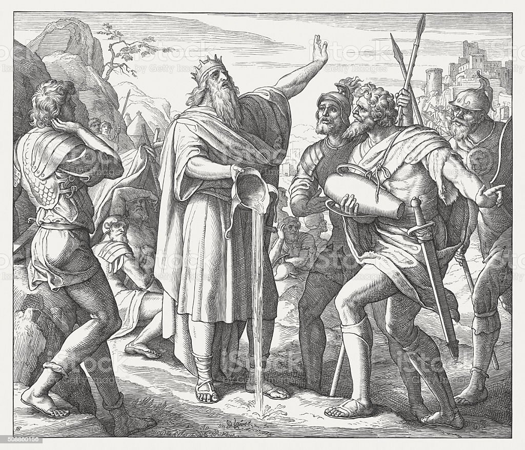 David and his heroes (II Samuel 23, 16-17), published 1860 vector art illustration