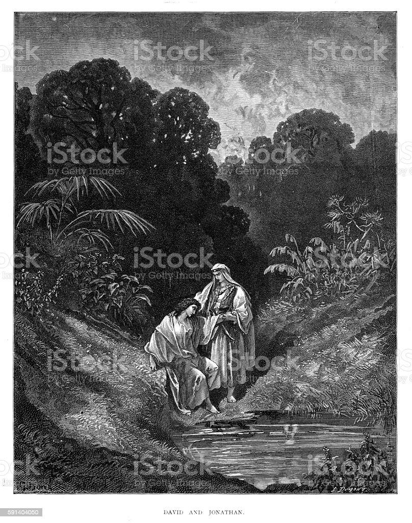 David and Jonathan engraving 1870 vector art illustration