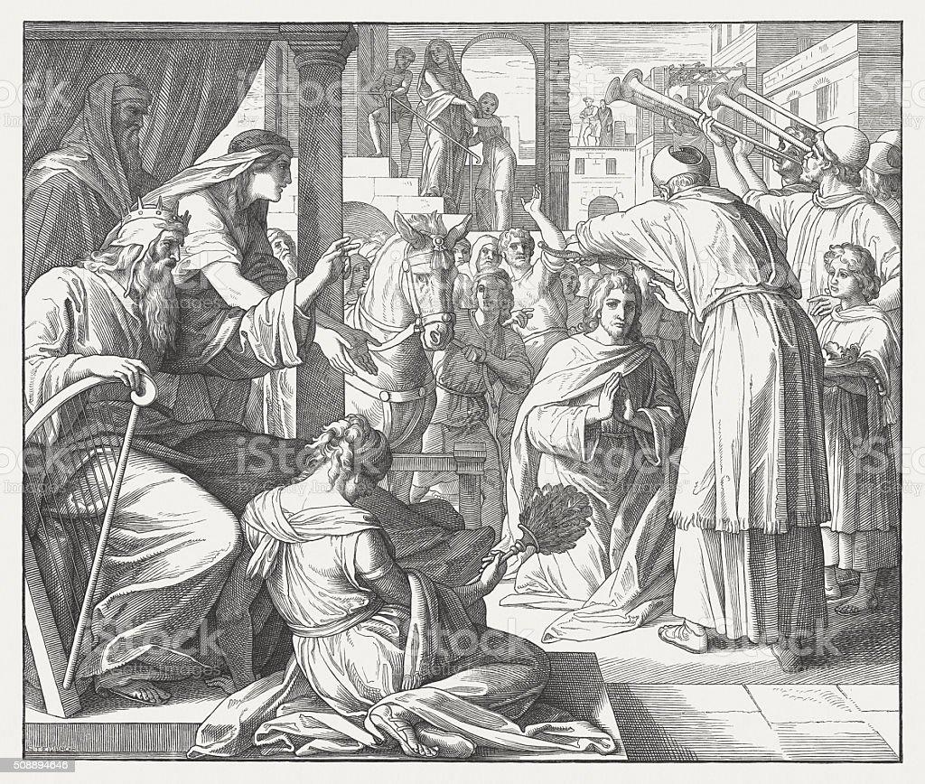 David makes Solomon anointed king (I Kings, 1,39) vector art illustration