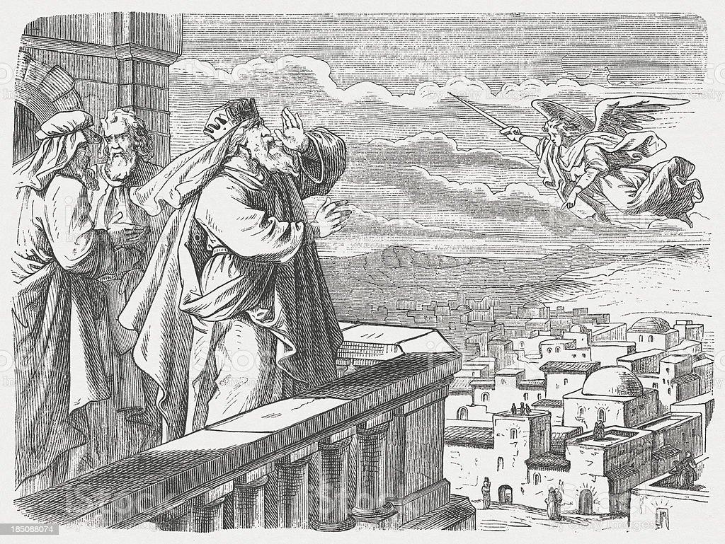 David sees the Angel of Pestilence vector art illustration