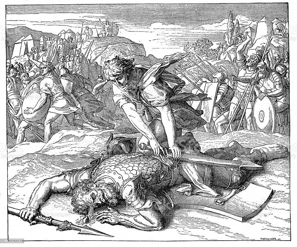 David Slaying Goliath vector art illustration