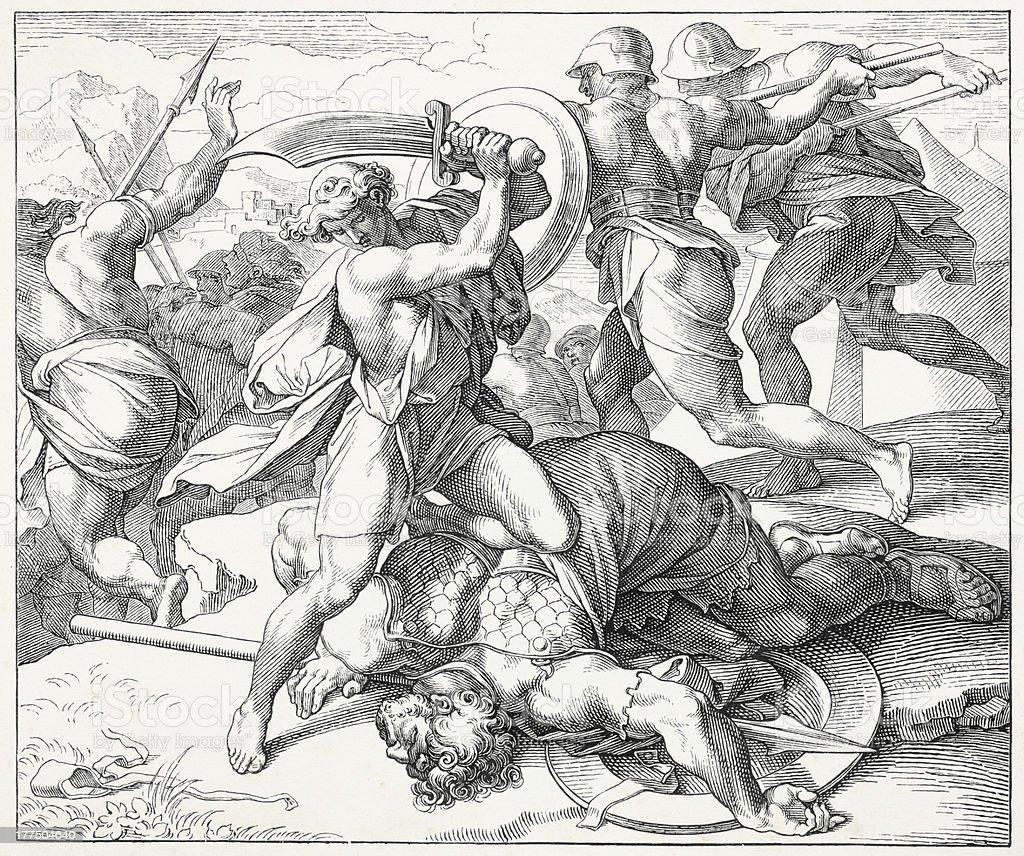 David slays Goliath royalty-free stock vector art