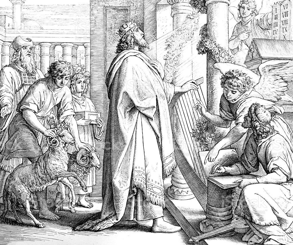 David the Psalmist vector art illustration