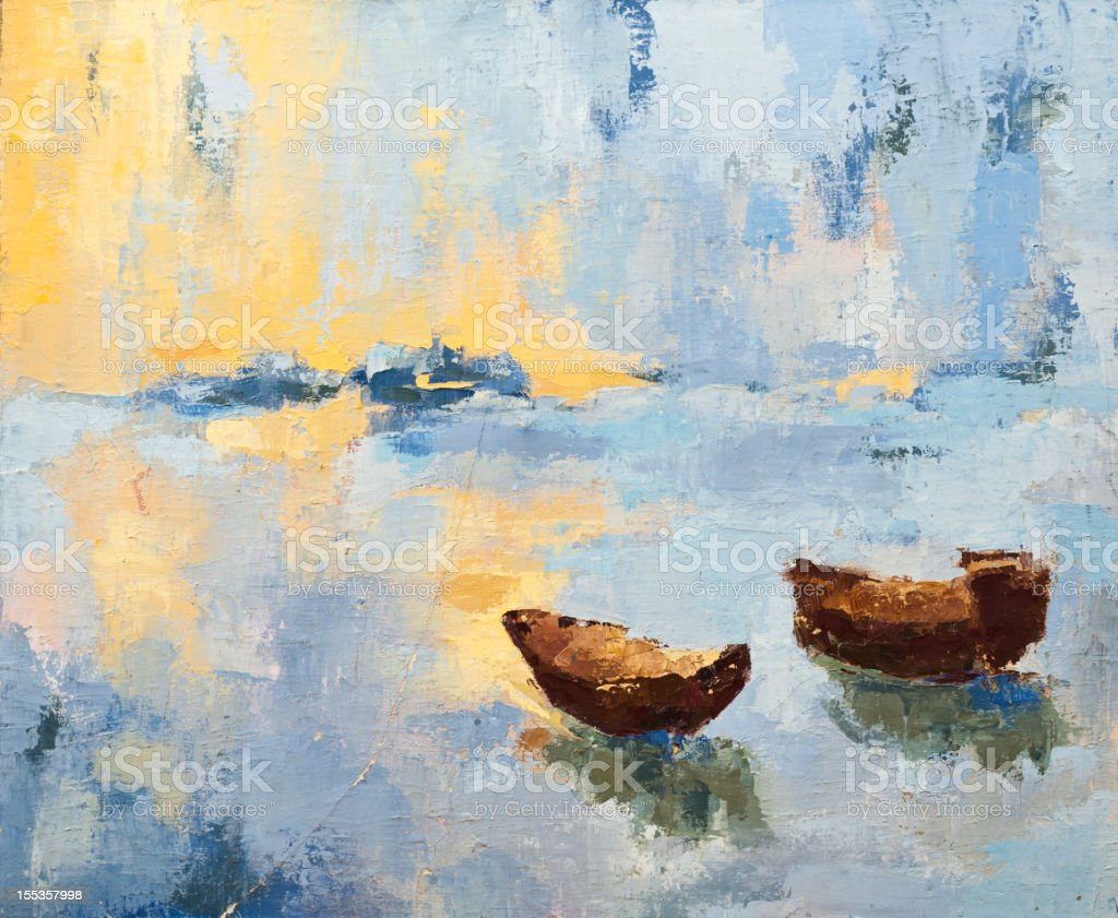 Dawn painting with boats and water vector art illustration