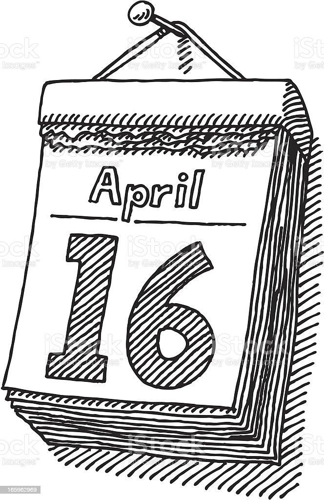 Day Calendar Drawing vector art illustration