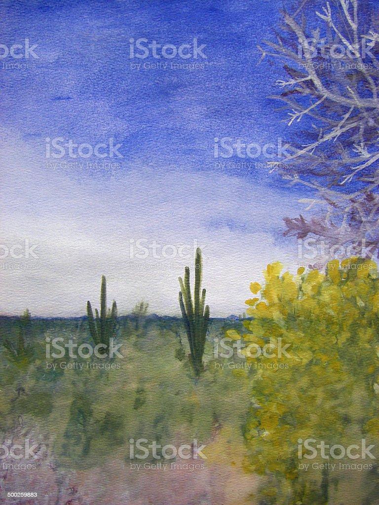 Day in the Arizona Desert vector art illustration