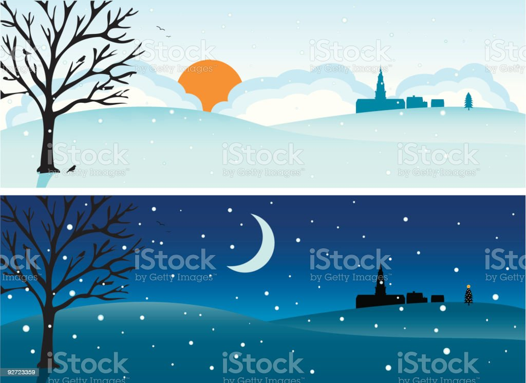 Day & Night - Winter royalty-free stock vector art