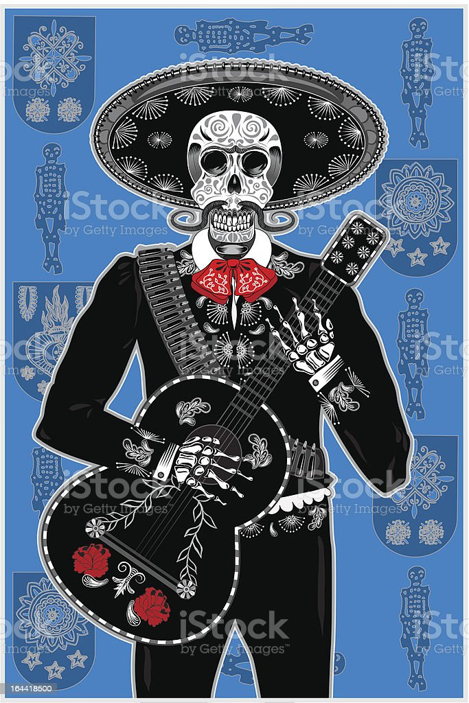 Day of the Dead Mariachi vector art illustration