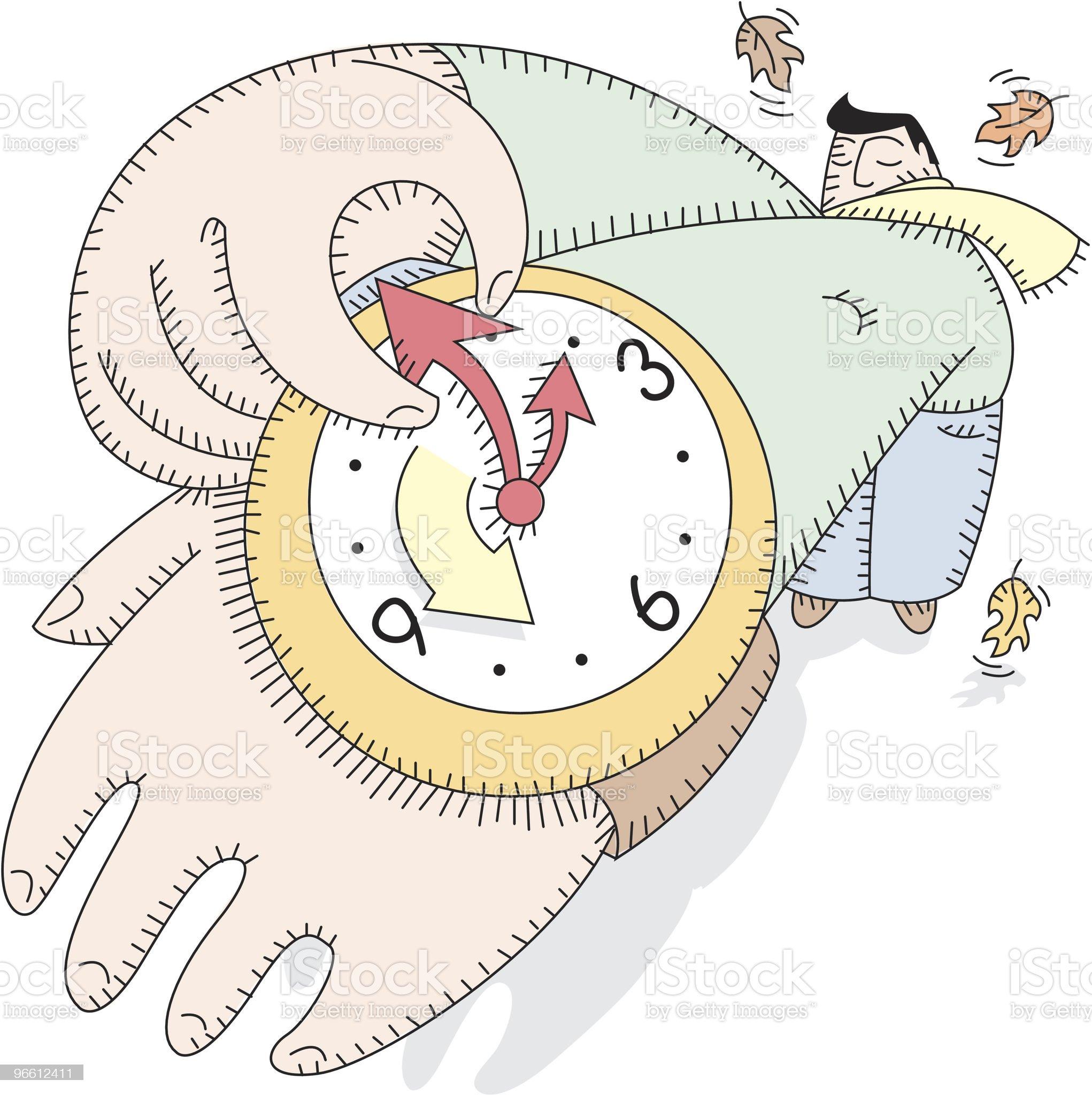 Daylight savings time, man sets watch royalty-free stock vector art