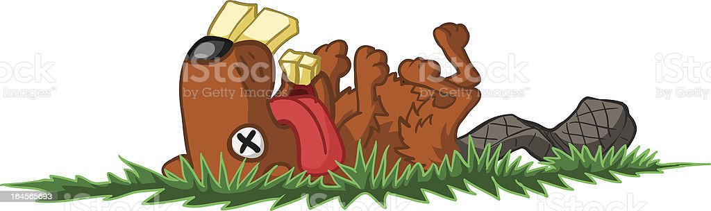 Dead Beaver vector art illustration