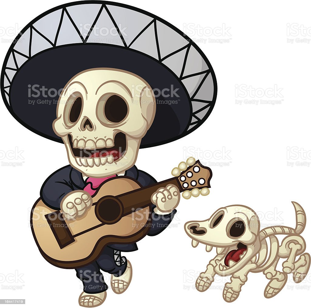 Dead mariachi vector art illustration
