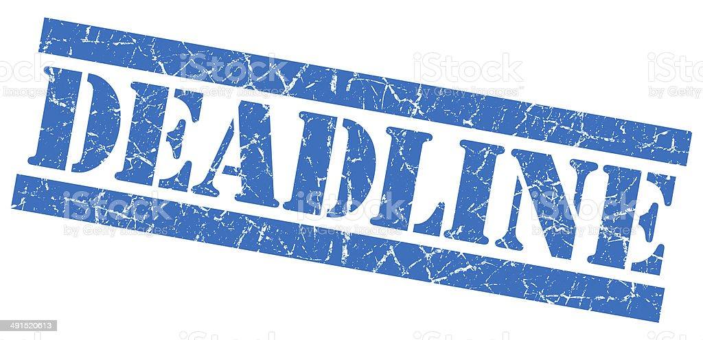 Deadline blue square grunge textured stamp isolated on white vector art illustration