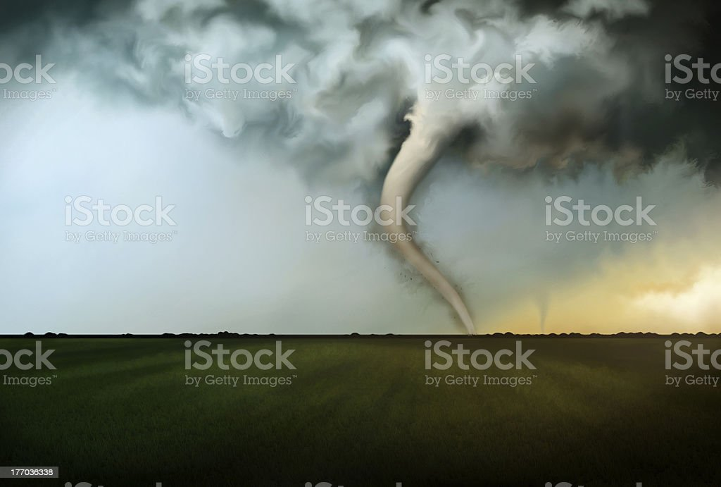Deadly Tornado vector art illustration