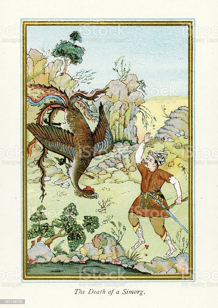 Death of a Simurgh vector art illustration