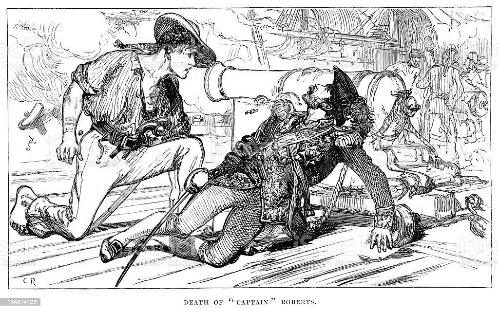 Death of Captain Bartholomew Roberts royalty-free stock vector art