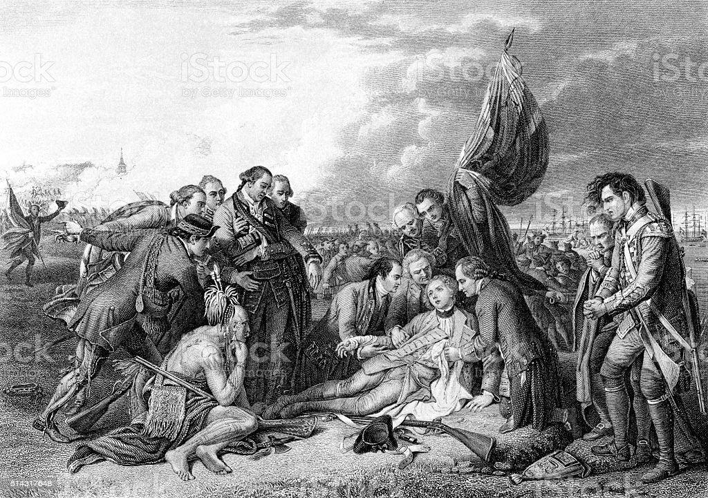 Death of General James Wolfe vector art illustration
